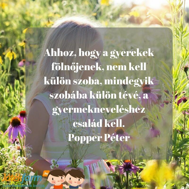 Idézetek gyerekekről #7 Ahhoz, hogy a gyerekek fölnőjenek, nem kell külön szoba, mindegyik szobába külön tévé, a gyermekneveléshez család kell. Popper Péter