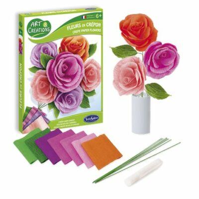 Rózsák krepp virág készítő kreatív szett
