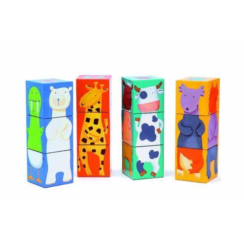 Vidám állatos kockák - puzzle - 12 colour animals cubes